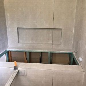 bath area framed completed awaiting waterproofing