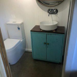 Vanity and toilet plumbed in