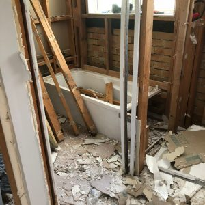 old bathroom being ripped out