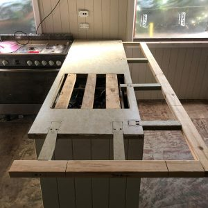 create supports on existing benchtop to create large surface area for breakfast bar
